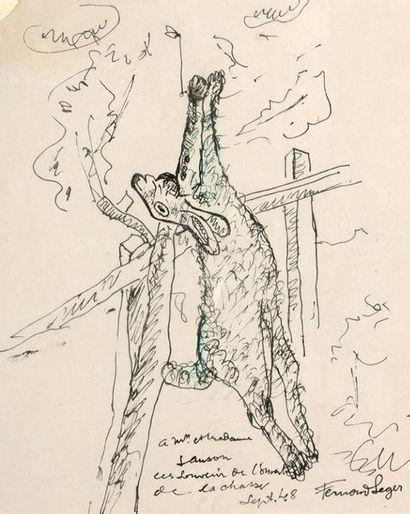 Fernand LÉGER (1881-1955) L'ouverture de la chasse, 1948 Ink on paper, dedicated...
