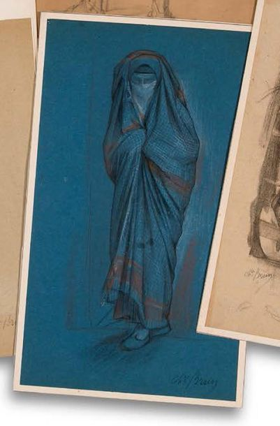 Charles Guillaume BRUN (1825-1908) Femme du désert Fusain et réhauts de craie sur...