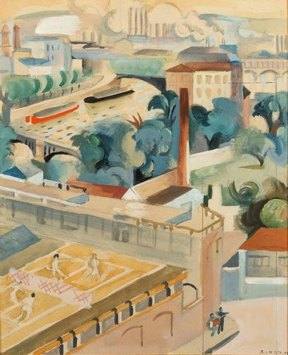 André LHOTE (1885-1962) La leçon de tennis, 1933 Watercolor on paper, signed lower...
