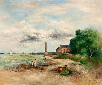 Paul-Elie GERNEZ (1888-1948) Le port de Honfleur, 1915 Huile sur carton, signée,...