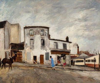 MARCEL FRANCOIS LEPRIN (1891-1933) Vue de village Huile sur toile, signée en bas...