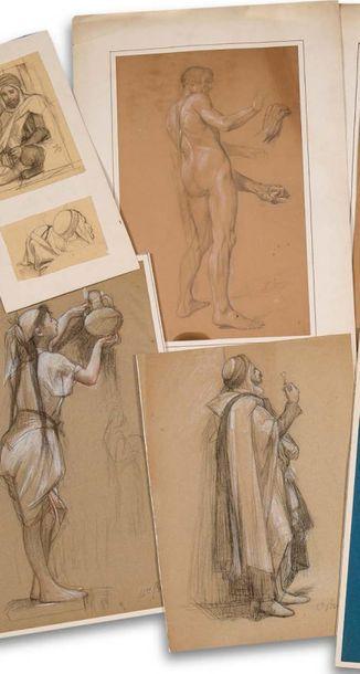 Charles Guillaume BRUN (1825-1908) Ensemble de quatre dessins : Le bedouin assis....