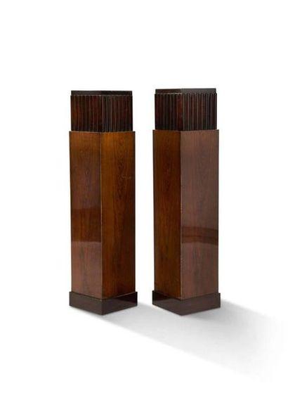 Christian KRASS (1868-1957) Paire de colonnes Acajou 101 x 20 cm. Circa 1940