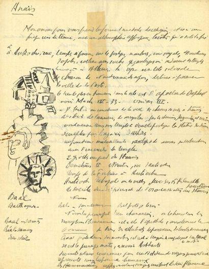ARTAUD ANTONIN (1896-1948) MANUSCRIT autographe avec DESSINS originaux à la plume,...