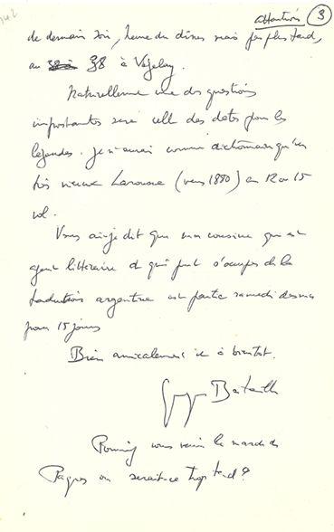 BATAILLE Georges (1897-1962) Écrivain