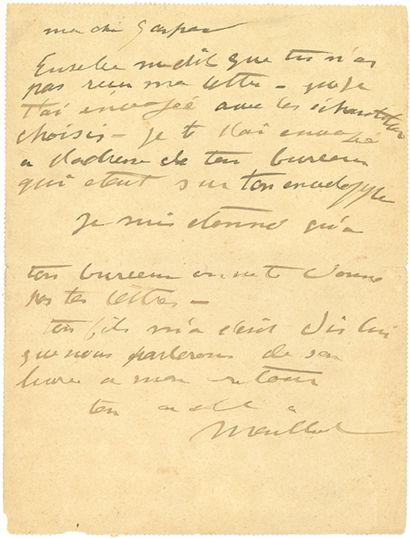 """MAILLOL Aristide (1861-1944) L.A.S. """"Maillol"""", to his nephew Gaspard MAILLOL; 1 page..."""