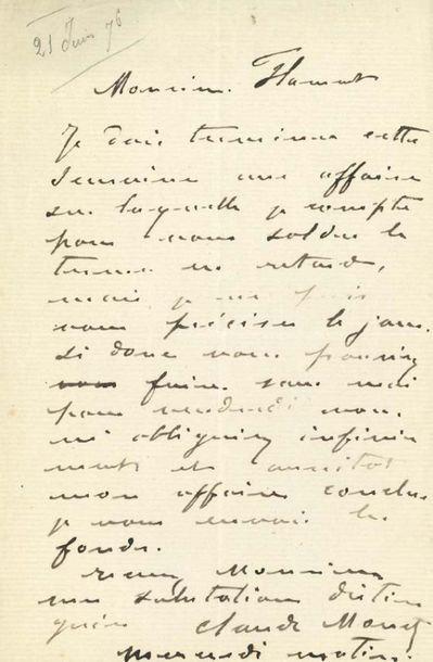 MONET Claude (1840-1926) L.A.S. «Claude Monet», Mercredi matin [21 juin 1876], à...