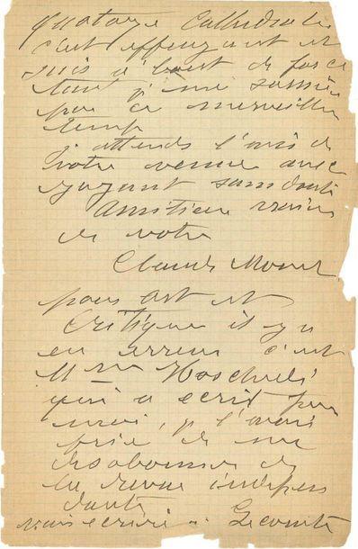 """MONET Claude (1840-1926) L.A.S. """"Claude Monet"""", Hôtel d'Angleterre, Rouen """"April..."""