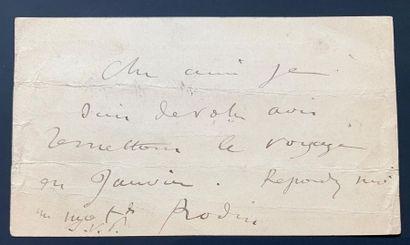 RODIN Auguste (1840-1917) L.A.S. «Rodin», [Paris 19 décembre 1888], à Gustave GEFFROY;...