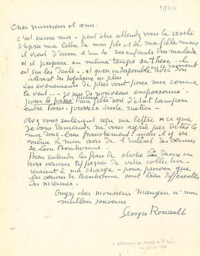 ROUAULT Georges (1871-1958) L.A.S. «Georges Rouault», [1944], à M. Mangin; 1 page...