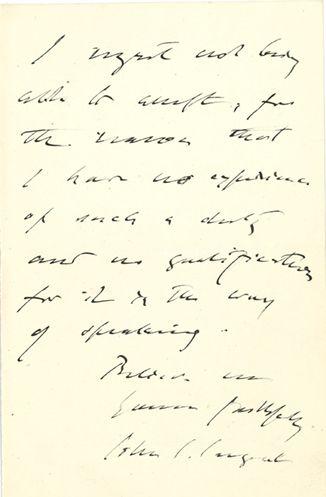 "SARGENT John Singer (1856-1925) L.A.S. ""John S. Sargent,"" Chelsea, March 2, 1907,..."
