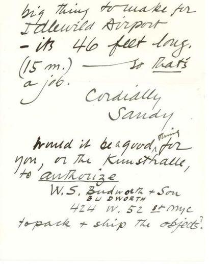 CALDER Alexander (1898-1976) L.A.S. «Sandy», 4 février 1957, au directeur de la Kunsthalle...
