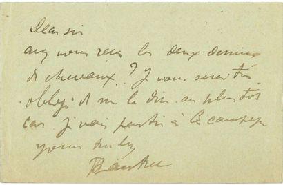 TOULOUSE-LAUTREC Henri de (1864-1901) L.A.S. «H. de Toulouse-Lautrec», Paris 25 février...
