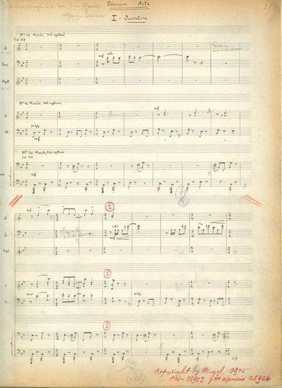 AURIC Georges (1899-1983) MANUSCRIT MUSICAL autographe, Malborough s'en va-t'en guerre...