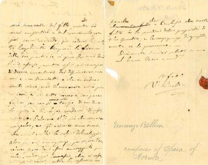 BELLINI Vincenzo (1801-1835) L.A.S. «Vo Bellini», Firenze 26 mai 1832, à l'éditeur...
