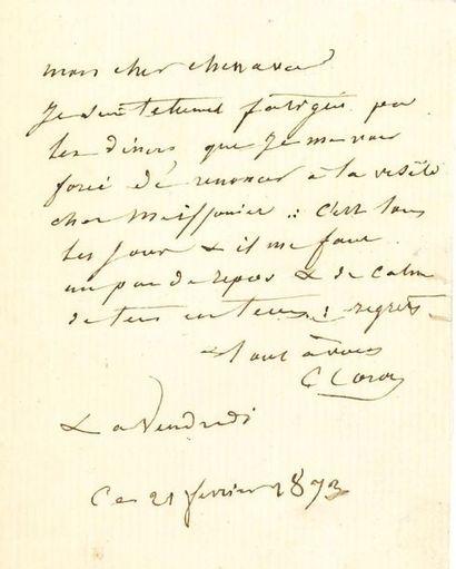 COROT Camille (1796-1875) L.A.S. «C. Corot», 21 février 1873, à Paul CHENAVARD; 1...