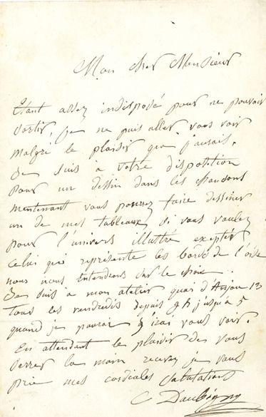 DAUBIGNY Charles (1817-1878). L.A.S. «C. Daubigny»; 1 page in-8 (photographie jointe)....