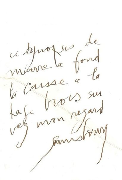 GAINSBOURG Serge (1928-1991) MANUSCRIT autographe signé «Gainsbourg»; 1 page in-4...