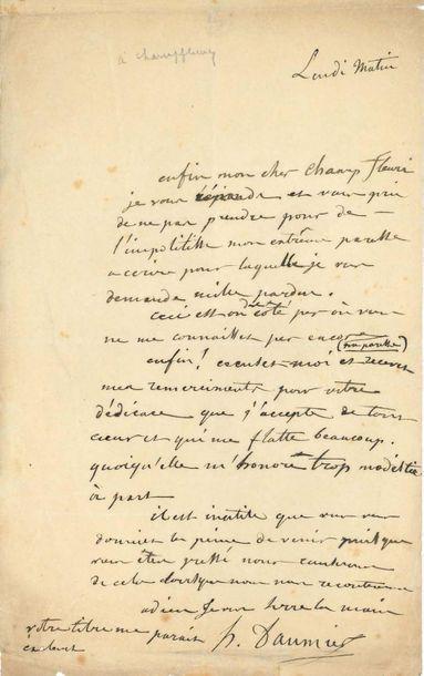 DAUMIER Honoré (1808-1879) L.A.S. «H. Daumier», Lundi matin [1851], à CHAMPFLEURY;...