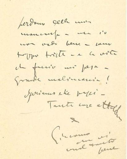 PUCCINI Giacomo (1858-1924) L.A.S. «Giacomo», Paris, à son ami Sybil SELIGMAN; 2...