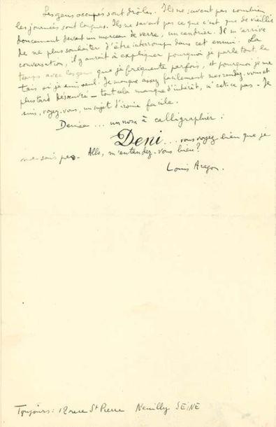ARAGON Louis (1897-1982) L.A.S. «Louis Aragon», Paris [1923 ?], à Denise LÉVY; 2...