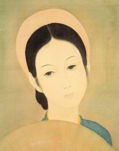 MAI trung THU (1906-1980) L'éventail, 1941 Encre et couleurs sur soie, signée et...
