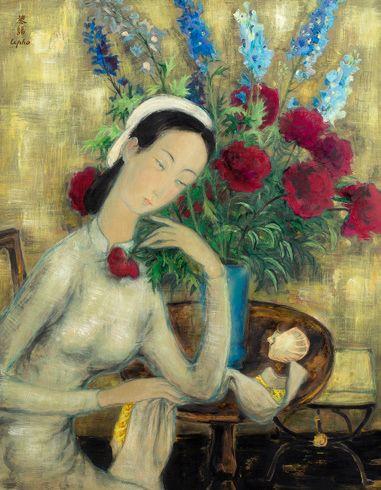 Le Pho (1907-2001) Jeune fille aux pivoines, circa Encre et couleurs sur soie, signée...