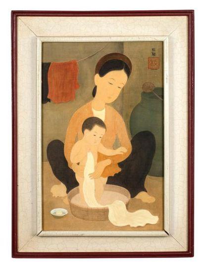 MAI trung THU (1906-1980) Le bain, 1942 Encre et couleurs sur soie, signée et datée...