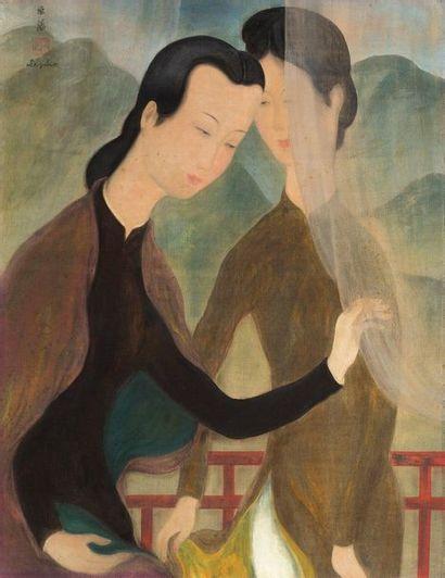 Le Pho (1907-2001) Les deux soeurs au balcon Encre et couleurs sur soie, signée en...