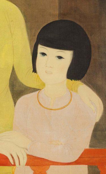 MAI trung THU (1906-1980) Le balcon, 1941 Encre et couleurs sur soie, signée et datée...