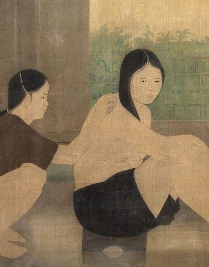 NGUYEN PHAN CHANH (1892-1984) La toilette, 1964 Encre et couleurs, signée et datée...