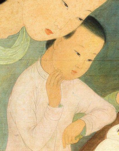 MAI trung THU (1906-1980) La lecture, 1945 Encre et couleurs sur soie, signée et...