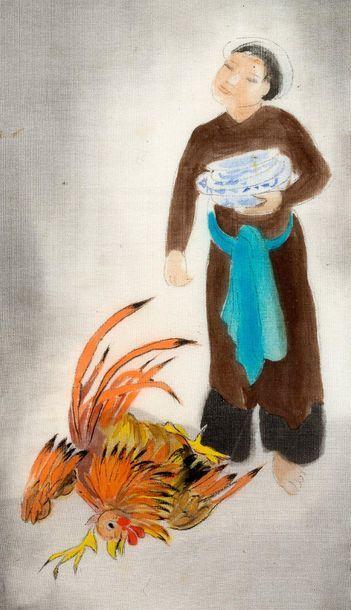 Alix AYMÉ (1894-1989) Scène familiale Encre et couleurs sur soie et fixé sous verre,...