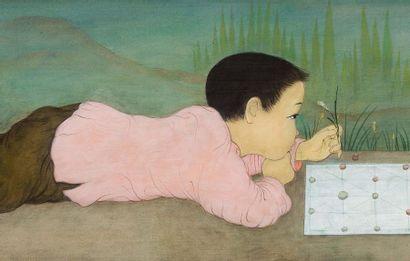 MAI trung THU (1906-1980) Le jeu, 1960 Encre et couleurs sur soie, signée et datée...