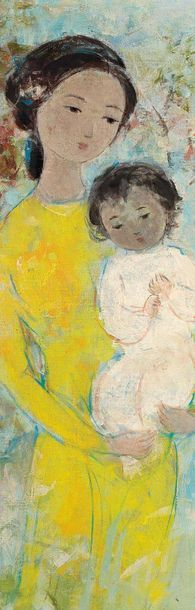 VU CAO DAM (1908-2000) Mère et enfants, 1966 Huile sur toile, signée et datée en...