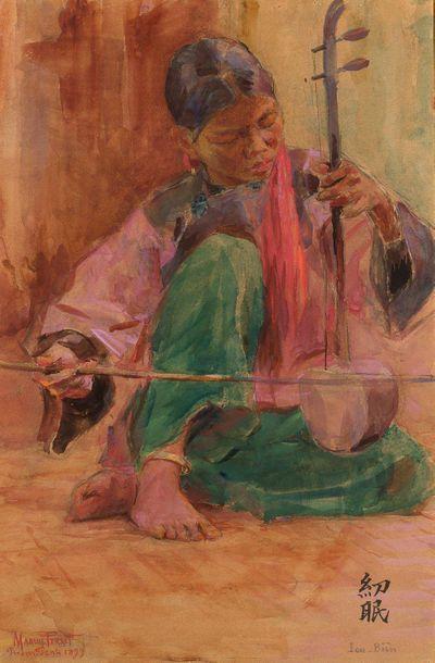 MARIUS PERRET (1853-1900) Lou Bien, joueuse d'erhu à Phnom Penh, 1899 Aquarelle,...