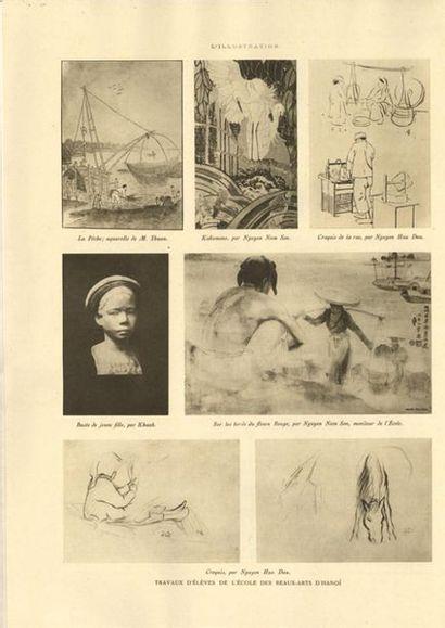 NGUYEN NAM SON (1890-1973) Aigrettes et poissons rouges, 1927 Estampe xylogravée...