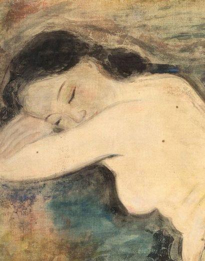 VU CAO DAM (1908-2000) Nu, 1941 Encre et couleurs sur soie, signée et datée en bas...