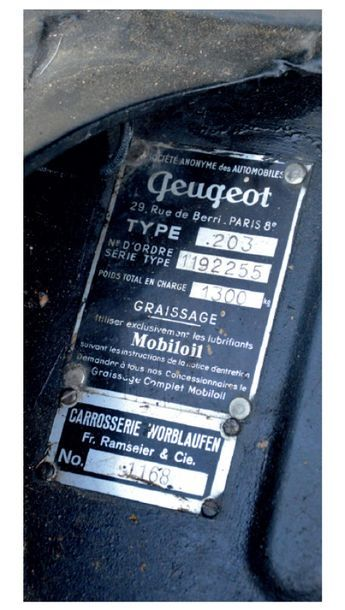 1951 - Peugeot 203 cabriolet Worblaufen Vehicle sold with a technical inspection...