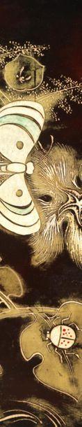 PIERRE BOBOT (1902-1974) GRAND PANNEAU DÉCORATIF En laque de beka et laque gravée...