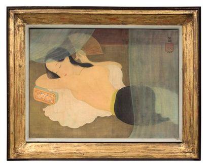 MAI trung THU (1906-1980) Le sommeil , 1943 Encre et couleurs sur soie, signée et...