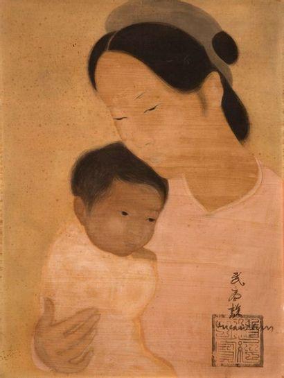 VU CAO DAM (1908-2000) Mère et enfant, circa 1930 Encre et couleurs sur soie, signée...