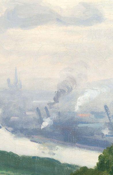 Albert Marquet (1875-1947) Canteleu, vue sur le port de Rouen par temps de pluie,...