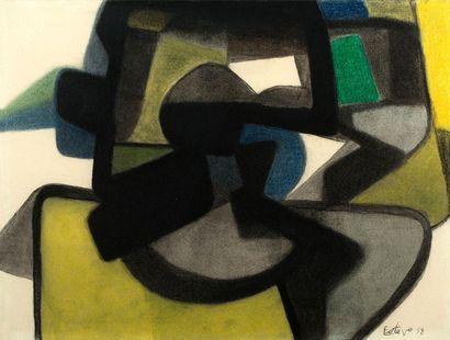 Maurice ESTEVE (1904 - 2001) Composition , 1958 Fusain et crayon de couleur sur papier,...