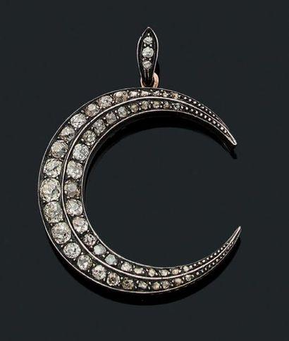 PENDENTIF «LUNE» Diamants taille ancienne...