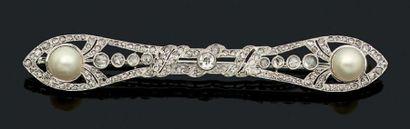 BROCHE «PERLES FINES» Perles fines, diamants...