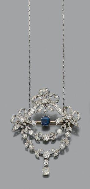 PENDENTIF «GUIRLANDE» Saphir, diamants taille...