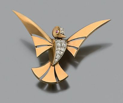 CLIP «OISEAU» Diamants ronds, rubis, or rose...