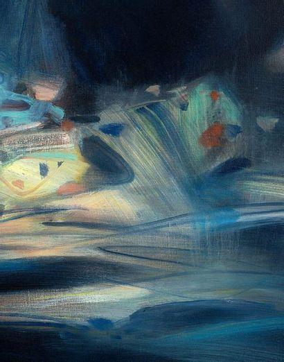 CHU TEH-CHUN (1920-2014) Abstraction bleue et jaune , 1989 Huile sur toile, signée...