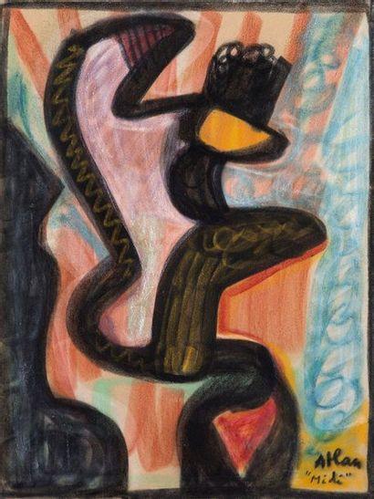 Jean-Michel Atlan (1913-1960) Midi , 1957 Pastel sur papier, marouflé sur carton, signé...